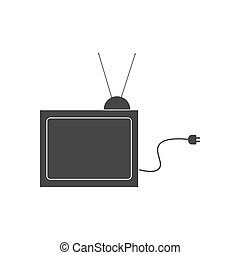TV set silhouette on the white background. Vector...