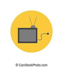 TV set icon on the yellow background. Vector illustration
