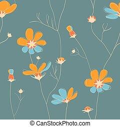 Wild chamomile seamless pattern