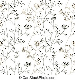 Cow parsnip seamless pattern on white backdrop - Cow parsnip...