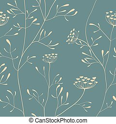 Cow parsnip seamless pattern - Cow parsnip vector seamless...