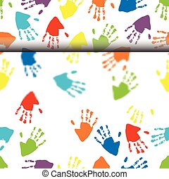 rolling hand prints seamless patter - vector illustration of...