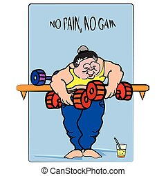 weight lifting - vector illustration of a big, funny lady ,...