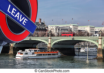 Britain votes to LEAVE European Union,Bridge with red buses...