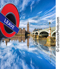 Britain votes to LEAVE European Union, Big Ben with bridge...