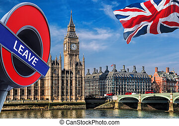 Britain votes to LEAVE European Union, Big Ben with flag of...