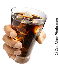 Hand holding a cola - Hand holding a wet glass ice cold cola...
