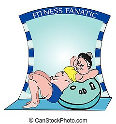 fitness, sit ups - vector illustration of a big funny woman...