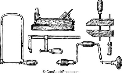 illustration of woodworking tool - Vector hand drawn...