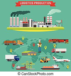 Manufacturing and logistics goods. Production process with factory buildings. Storing of goods in warehouse, fast delivery worldwide. Vector infographic