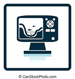 Icon of echo sounder Shadow reflection design Vector...
