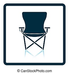 Icon of Fishing folding chair. Shadow reflection design....