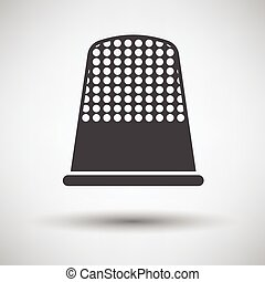Tailor thimble icon on gray background, round shadow Vector...
