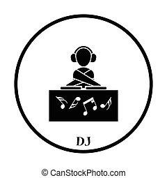 Night club DJ icon. Thin circle design. Vector illustration.