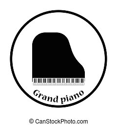 Grand piano icon. Thin circle design. Vector illustration.
