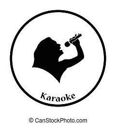 Karaoke womans silhouette icon Thin circle design Vector...