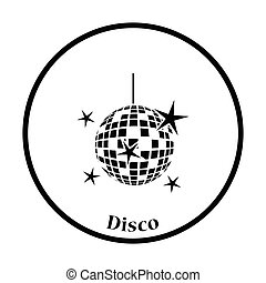 Night clubs disco sphere icon Thin circle design Vector...