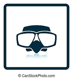 Icon of scuba mask . Shadow reflection design. Vector...