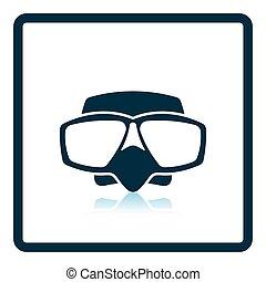 Icon of scuba mask . Shadow reflection design. Vector...