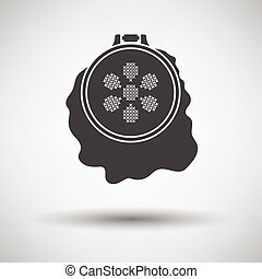 Sewing hoop icon on gray background, round shadow Vector...