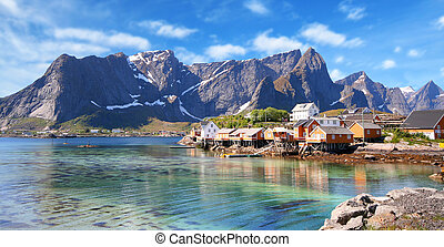 small town of hamnoy near lofoten in norway with blue sky