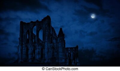 Old Abbey Ruins At Night - Large old abbey ruins in the dark...