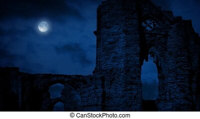 Arches Of Medieval Ruins At Night