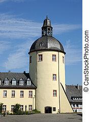 stary, wieża, Miasto, Siegen, Północ,...