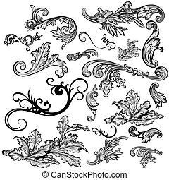 Collection of vector swirl elements and ornaments for design.eps
