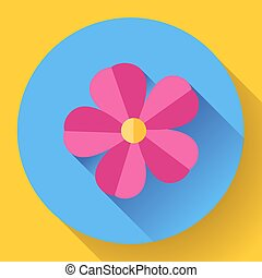 Frangipani flower icon Nature symbol - Vector - Red cute...