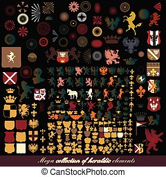 Collection or mega set of vector  heraldic decorative elements crowns shields animals lions horses fleur de lis sunbursts armor and other for design for design.eps