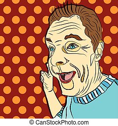 pop art surprised man