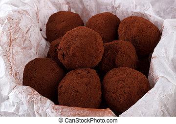 Chocolate rum balls - Homemade chocolate rum balls with...