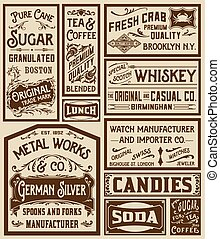 Mega pack old advertisement designs and labels - Vector...