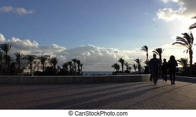 Agadir promenade in the evening