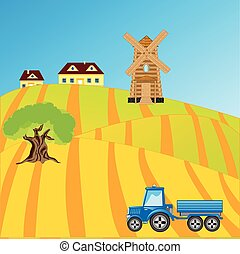 Field with sowing - Rural terrain and tractor in fieldVector...