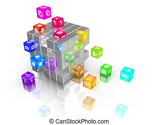 IOT rainbow cubes flying out of big cube - Internet of...