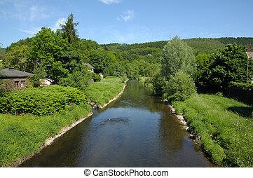 krajobraz, Rzeka, Siegen, Siegerland, Północ,...