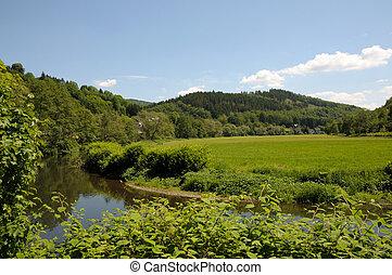krajobraz, Sieg, Rzeka, Północ, Rhine-Westphalia, Niemcy
