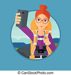 Woman with backpack making selfie. - Young woman making...