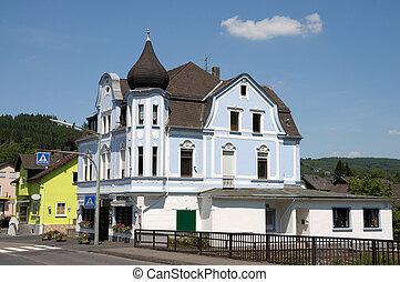 miasto, rhine-westphalia, stary, dom, Niemcy, kirchen,...