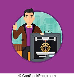 Man with three D printer - Young man standing near 3D...
