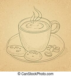 Cup of aromatic coffee.