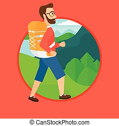 Man with backpack hiking. - A hipster man with the beard...