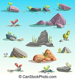 Set of isolated stones, boulders Vector isolated objects...