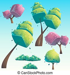 Set of isolated cartoon abstract trees