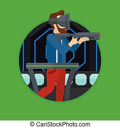Man in virtual reality headset playing video game. - Hipster...
