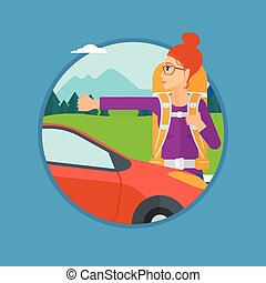 Young woman hitchhiking - Young woman with backpack...