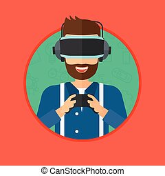 Man wearing virtual reality headset. - A hipster man with...