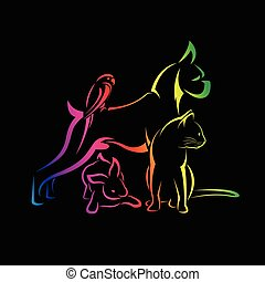 Vector group of pets - Dog, cat, bird, rabbit, isolated on black background